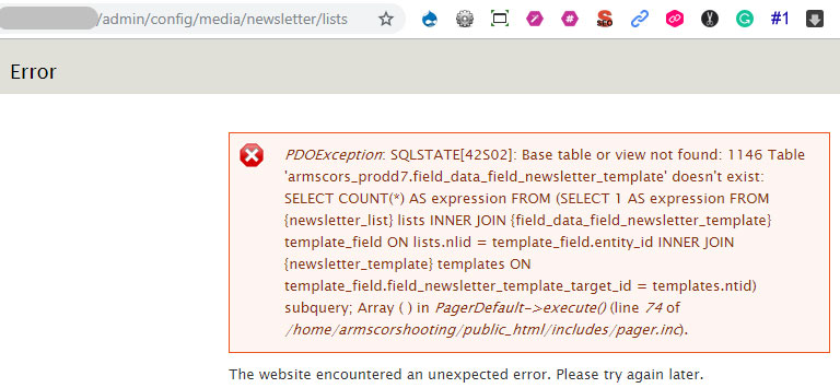 PDOException: SQLSTATE[42S02]: Base table or view not found: 1146 Table '.field_data_field_newsletter_template
